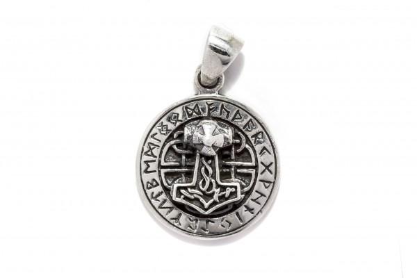 Thorshammer mit 24 Runen Ø 1.8 cm Silber - at51
