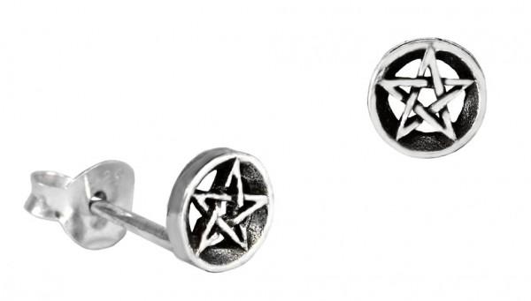 Ohrstecker Pentagramme Ø 5 mm Silber - ost79