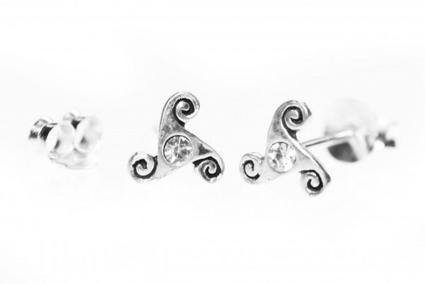 Ohrstecker TRISKEL Weißer Kristall 6 mm Silber - ost42-3