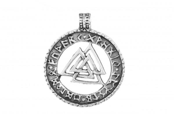 Anhänger VALKNUT 2.6 cm Wotansknoten mit Runen Silber - av59
