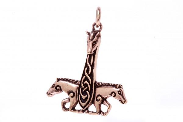 Thorshammer mit Pferden 4.3 cm Bronze - atb27