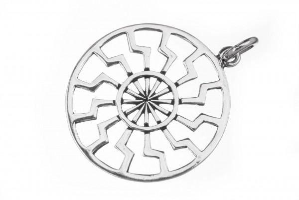 Anhänger SCHWARZE SONNE Ø 3.3 cm Silber - av39
