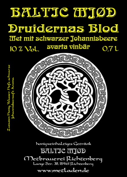Druidernas Blod-Met Schwarze Johannisbeere-Baltic Mjød- 0,7 l