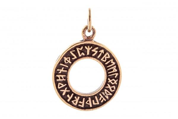 Anhänger DRUNA Ø 2.3 cm Runen im Kreis Bronze - avb49