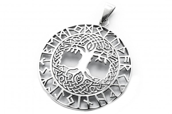 Anhänger Ø 3 cm Yggdrasil mit Runen Silber - av71