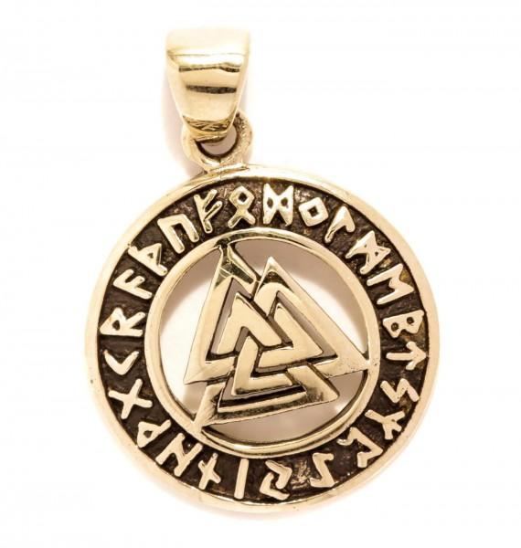 Anhänger VALKNUT Wotansknoten mit Runen Bronze - avb547
