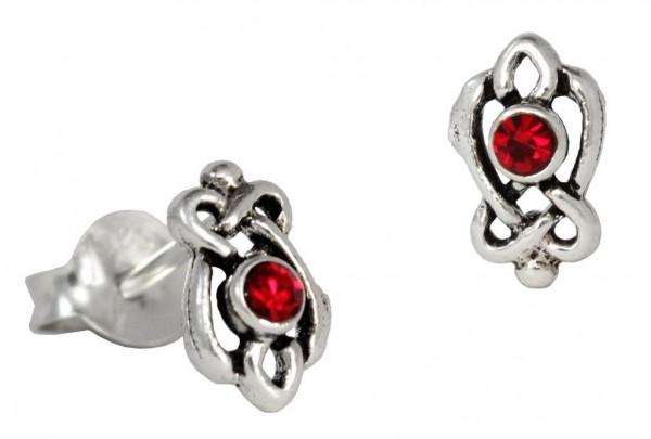 Ohrstecker Mit roten Kristallen 8 mm  Silber - ost82-3