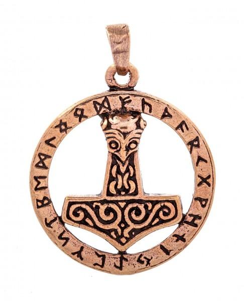 Thorshammer mit Runen Bronze Ø 2.5 cm - atb69