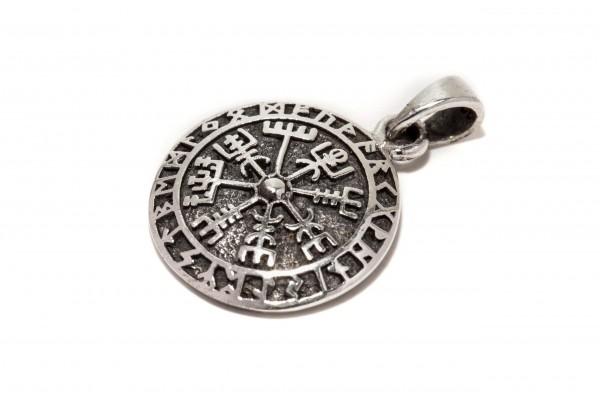 Anhänger Ø 1.7 cm Vägvisir mit Runen Silber - av76