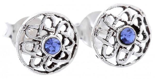 Ohrstecker Keltische Lebensblume Blauer Kristall Ø 0.7 cm Silber - ost66