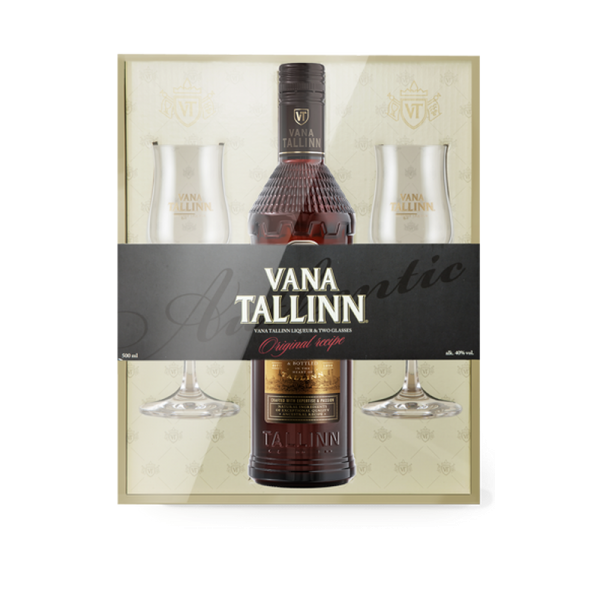 Präsentbox Vana Tallinn 40% - 500 ml + 2 Gläser