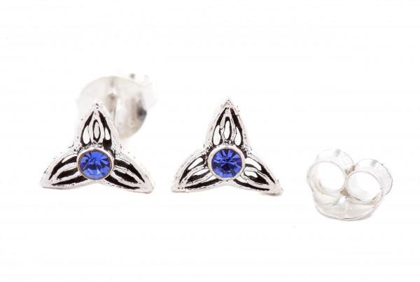 Ohrstecker Keltische Dreiheit mit Blauen Steinen 7 mm Silber - ost73