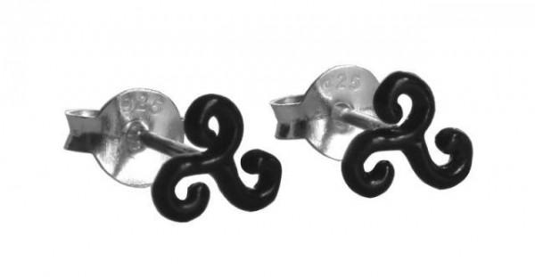 Ohrstecker Celtic Schwarze Triskele 6 mm Silber - ost120