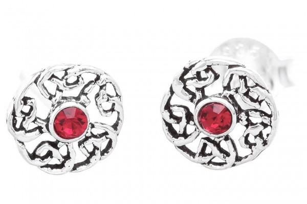 Ohrstecker  Celtic Roter Kristall Ø 6 mm Silber - ost118