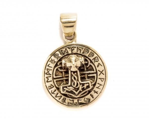 Thorshammer mit 24 Runen Ø 2 cm  Bronze - atb67