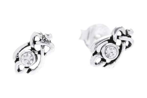 Ohrstecker Celtic  Mit weißen Kristallen 8 mm  Silber - ost82