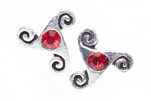 Ohrstecker TRISKEL mit Rotem Kristall 6 mm Silber - ost42-2