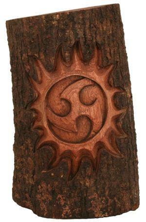 Wandbild - Celtic Deko Baumstamm - Triskele mit Sonne - hkb86