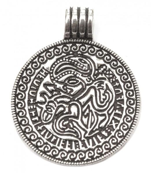 Anhänger BRAKTEAT 3,2 cm Odin auf Sleipnir Silber - am82