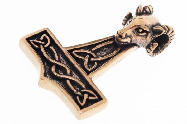 Großer Thorshammer mit Widderkopf 4.7 cm Bronze - atb4