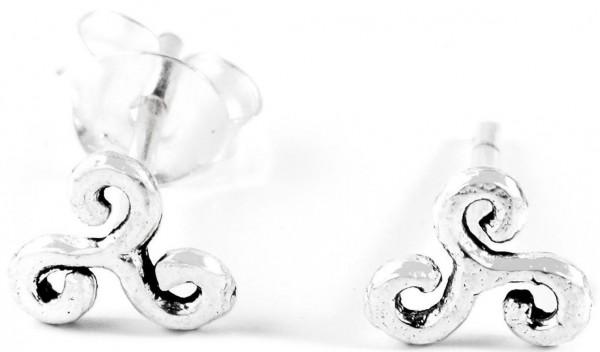 Ohrstecker Keltische Triskele Ø 6 mm Silber - ost2