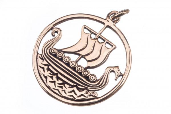 Anhänger Drachenschiff Wikinger Bronze - avb525