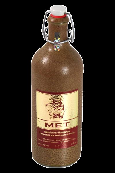 Met klassischer Honigwein - 0,7l Fl. - 11% in Tonflasche