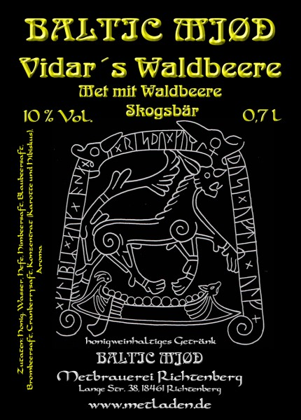 Vidar´s Waldbeere - Met mit Waldbeer Geschmack - Baltic Mjød - 0,7 l - 10 %