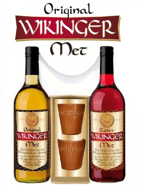 Wikinger-Met-Geschenkset »Doppelter Wikinger«: 2Flaschen Met + 2 Tonbecher - ein tolles Präsent!